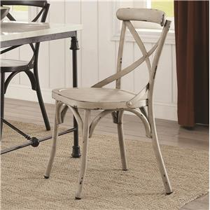Rustic Metal Dining Chair - White
