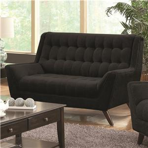 Contemporary Love Seat w/ Exposed Wood Legs