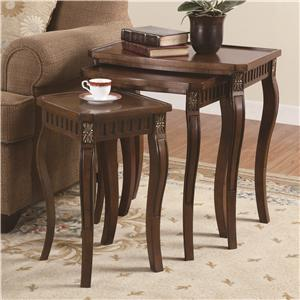 3 Piece Curved Leg Nesting Tables