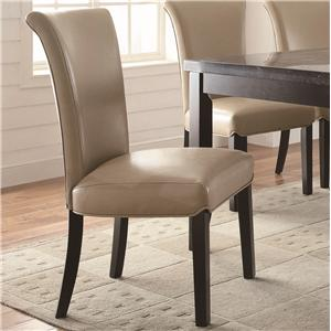 Upholstered Taupe Side Chair with Curved Seat Back