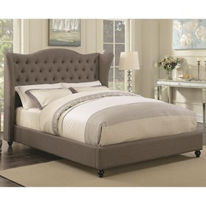 King Upholstered Bed with Button Tufted Headboard
