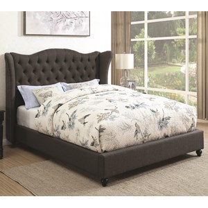Twin Upholstered Bed with Button Tufted Headboard
