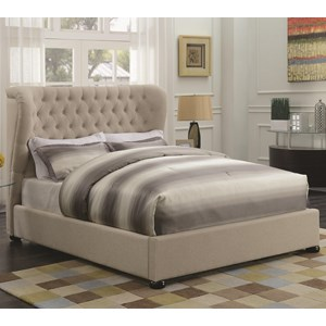 Queen Upholstered Bed with Demi-Wing Headboard