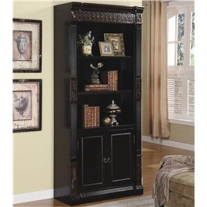 Traditional Slim Bookcase with Carvings and Enclosed Storage Cabinet
