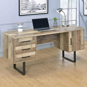Rustic Finish Writing Desk with 3 Drawers and 1 Door