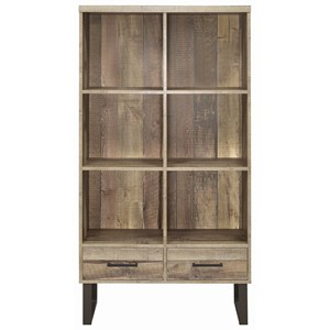 Rustic Finish Bookcase with 2 Drawers