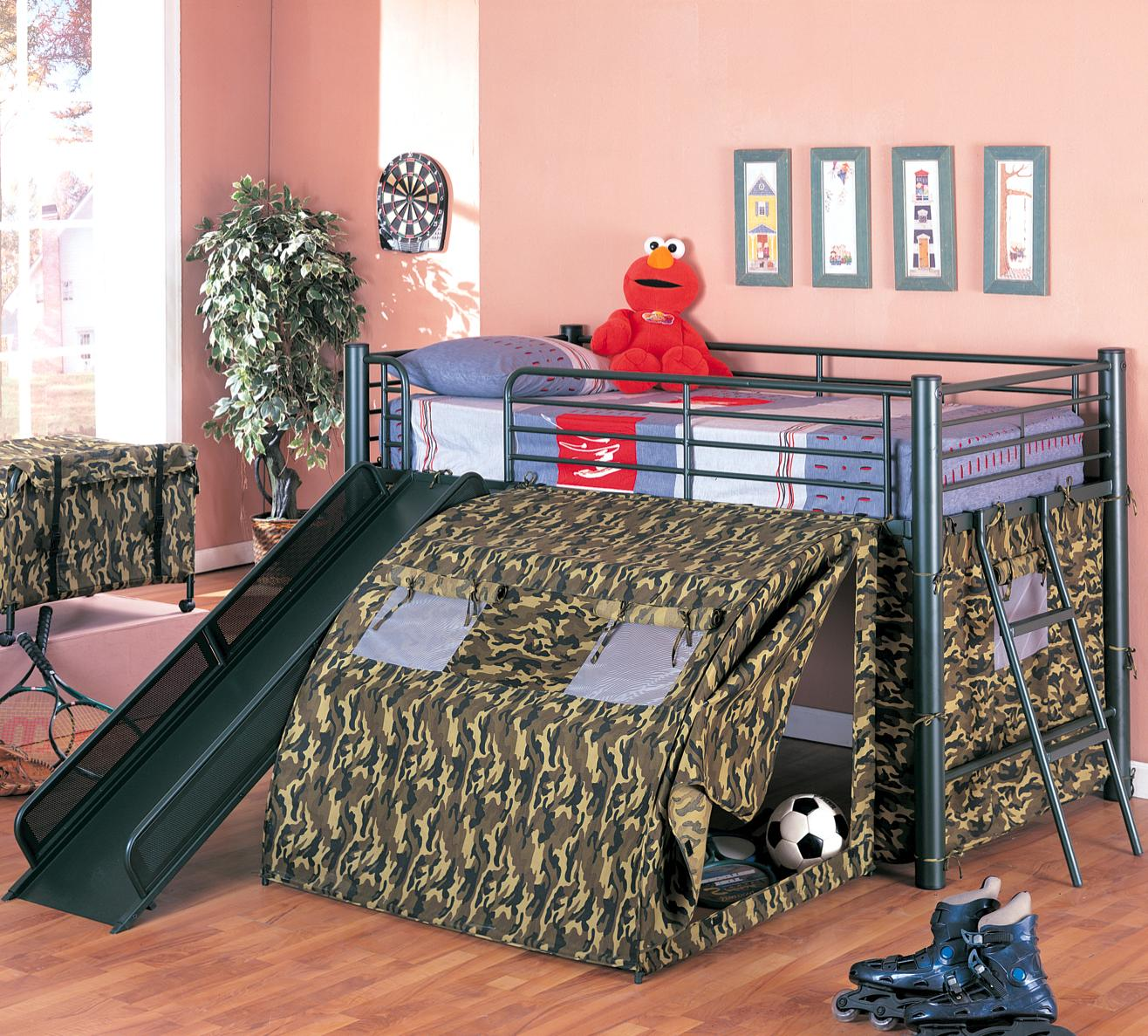 Oates Bunk Bed with Slide and Tent by Coaster at A1 Furniture & Mattress