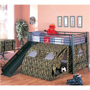 Lofted Bed with Slide and Tent