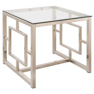 Contemporary Metal End Table with Glass Top & Geometric Motif