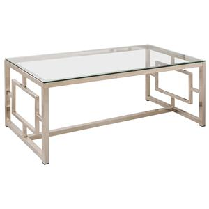 Contemporary Metal Coffee Table with Glass Table Top & Geometric Motif
