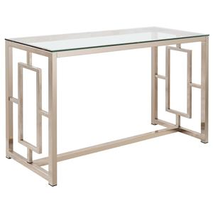 Contemporary Metal Sofa Table with Glass Top & Geometric Motif