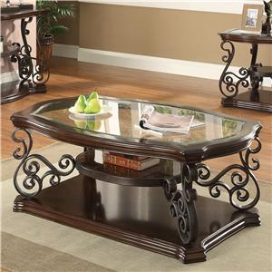 Traditional Coffee Table with Tempered Glass Top & Ornate Metal Scrollwork