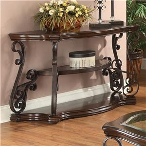 Sofa Table with Tempered Glass Top & Ornate Metal Scrollwork