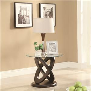 Glass Top Intersecting Ring End Table
