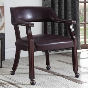 Office Chair with Casters and Nailhead Trim
