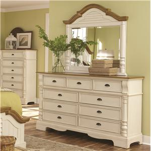 9 Drawer Dresser and Mirror Set with Pilaster Detail