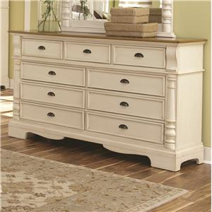 Dresser with 9 Drawers and Bracket Feet