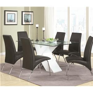 Contemporary Seven Piece Dining Set with Glass Top X Table