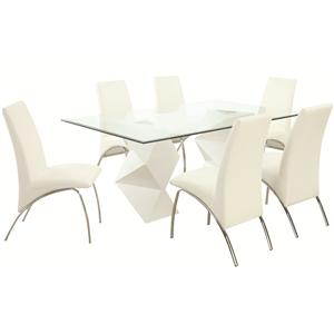 Contemporary Seven Piece Dining Set with Rectangular Glass Top Table