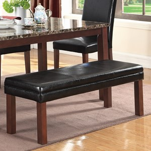 Transitional Dining Bench with Leatherette Top