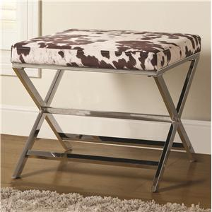 Cow Print Ottoman w/ Chrome Base