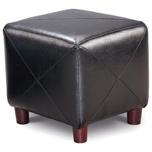 Contemporary Faux Leather Cube Ottoman