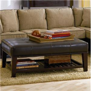 Contemporary Faux Leather Tufted Ottoman with Storage Shelf