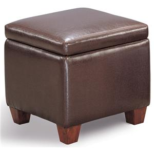 Casual Faux Leather Storage Cube Ottoman