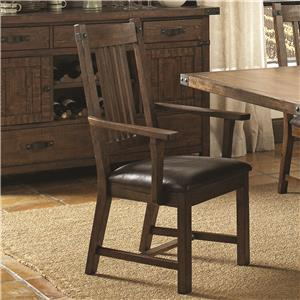 Rustic Dining Arm Chair with Faux Leather Cushion