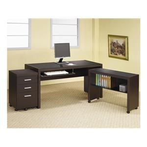 Home Office Desk, Computer Cart, File Cabinet and Bookcase Set
