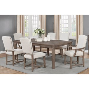 Transitional 7 Piece Dining Set with Leaf Extension