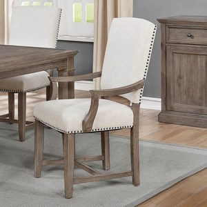 Transitional Arm Chair with Nailhead Trim