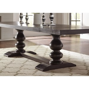 Transitional Rectangular Dining Room Table with 2 Leaf Extensions