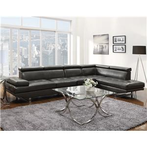 Contemporary Sectional with Armless Chair and Adjustable Headrests