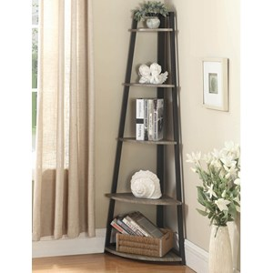 Contemporary Corner Bookcase with Metal Frame