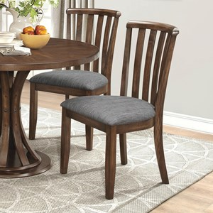 Slat Back Dining Chair  with Gray Fabric Upholstery