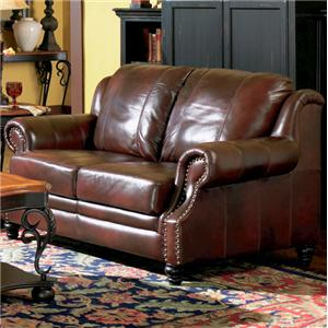 Leather Love Seat with Nail Head Trim