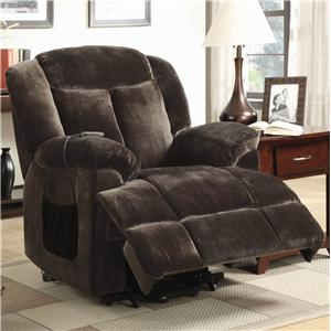 Casual Power Lift Recliner with Chocolate Colored  Velvet
