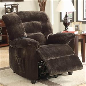 Casual Power Lift Recliner in Chocolate Upholstery