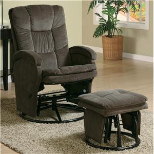 Casual Reclining Glider with Matching Ottoman