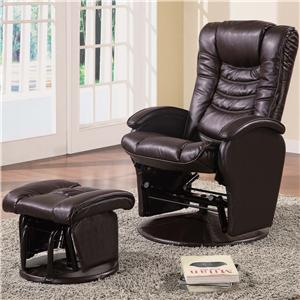 Casual Glider Recliner Chair with Matching Ottoman