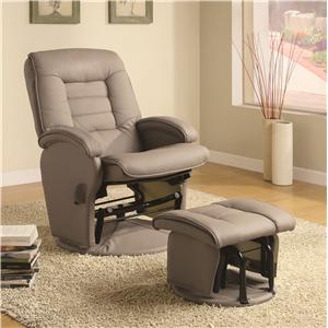 Leather Like Vinyl Glider with Matching Ottoman