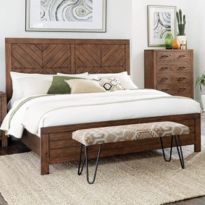 California King Bed with Planked Geometric Pattern