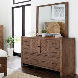 Craftsman 6 Drawer Dresser and Mirror Combo