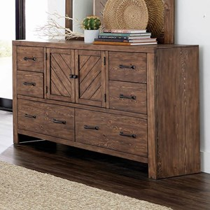 Craftsman 6 Drawer Dresser with Planked Geometric Pattern