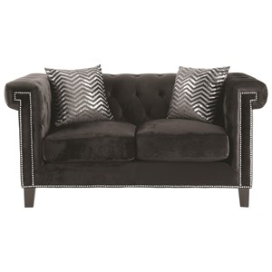 Loveseat with Greek Key Nailhead Trim Design