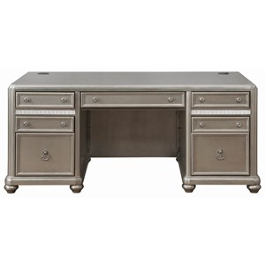 Contemporary Executive Desk with Decorative Mirror Accents