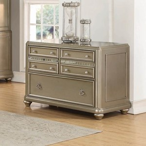 Contemporary File Cabinet with Decorative Mirror Accents