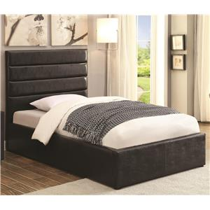 Full Black Leatherette Upholstered Bed with Lift Top Storage