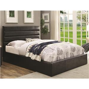 King Black Leatherette Upholstered Bed with Lift Top Storage